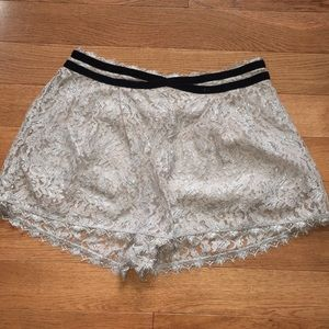 FREE PEOPLE Tan + Metallic Silver Lace Shorts